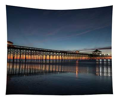 Folly Beach Pier Before Sunrise Tapestry