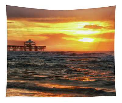 Folly Beach Pier Sunrise Tapestry