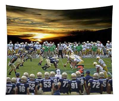 Football Field-notre Dame-navy Tapestry