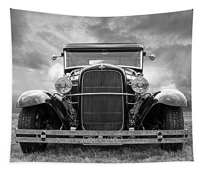 Ford Coupe Head On In Black And White Tapestry