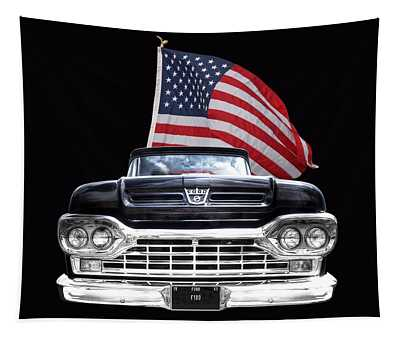 Ford F100 With U.s.flag On Black Tapestry