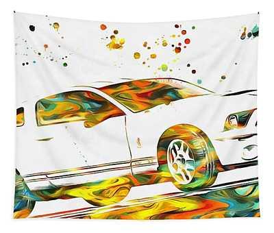 Ford Mustang Paint Splatter Tapestry