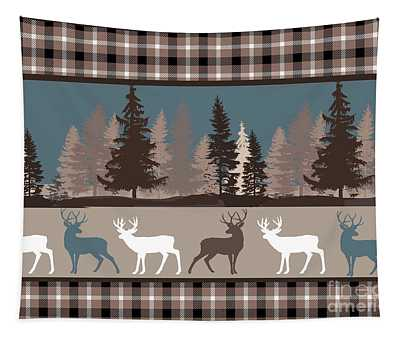 Forest Deer Lodge Plaid II Tapestry