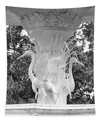 Forsyth Park Fountain - Black And White 4 2x3 Tapestry