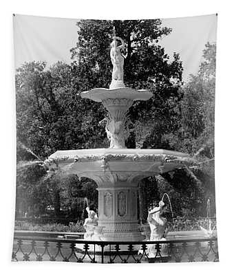 Forsyth Park Fountain Black And White With Vignette Tapestry