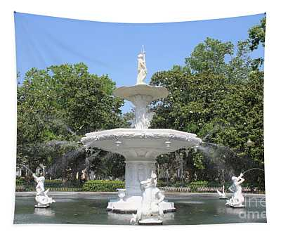 Forsyth Park Fountain With Blue Sky Tapestry