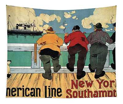 Four Men Smoking And Watching A Steamer Ship Sailing - Vintage Illustrated Poster - American Line Tapestry