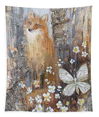 Fox And Butterfly Tapestry