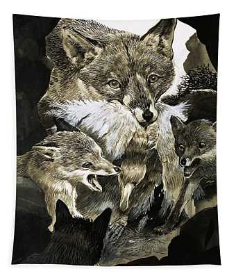 Fox Delivering Food To Its Cubs  Tapestry