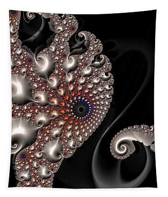 Tapestry featuring the digital art Fractal Contact - Silver Copper Black by Matthias Hauser