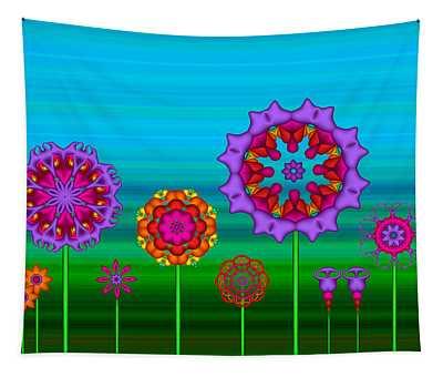 Whimsical Fractal Flower Garden Tapestry