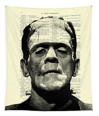 Frankenstein On Dictionary Page Tapestry
