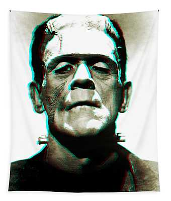 Tapestry featuring the digital art Frankensteins Monster Karloff by Joy McKenzie