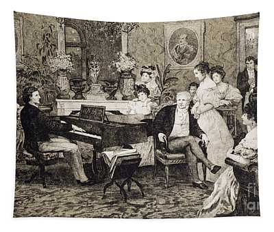 Frederic Chopin Playing In The Salon Of The Musician And Composer Prince Anthony Radziwill Tapestry