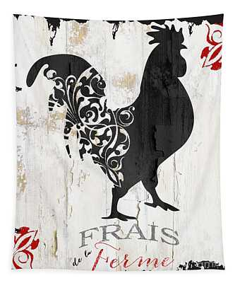 French Farm Sign Rooster Tapestry