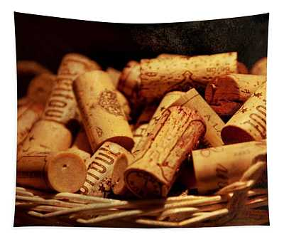 French Wine Bottle Corks Tapestry