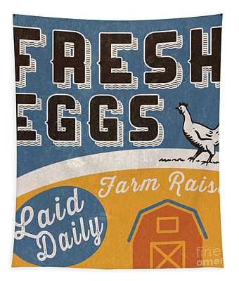 Fresh Eggs Laid Daily Retro Farm Sign Tapestry