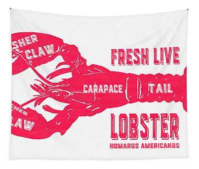 Fresh Live Lobster Vintage Sign Tapestry