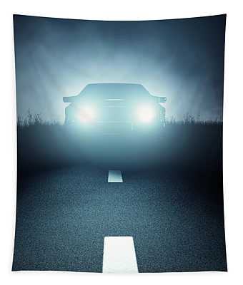 Front Car Lights At Night On Open Road Tapestry
