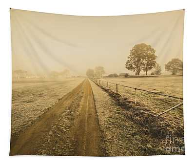 Frosted Road In Outback Australia Tapestry