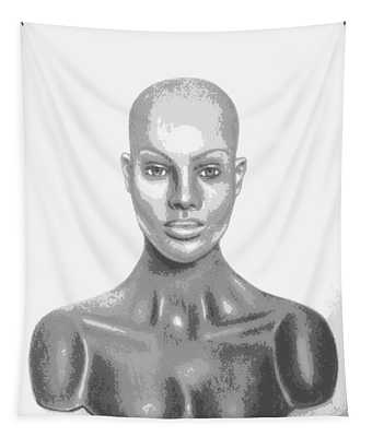 Bald Superficial Woman Mannequin Art Drawing  Tapestry