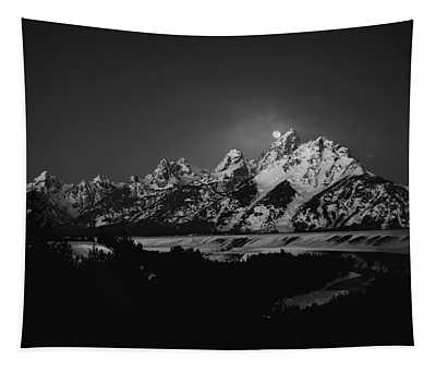 Full Moon Sets In The Tetons Tapestry