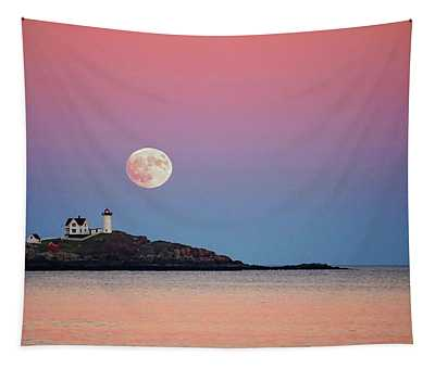 Full Moon Rising At Nubble Light Tapestry