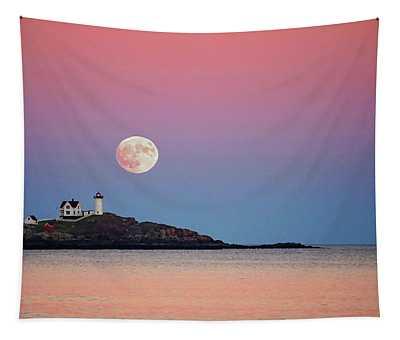 Full Moon Rising At Nubble Light Tapestry