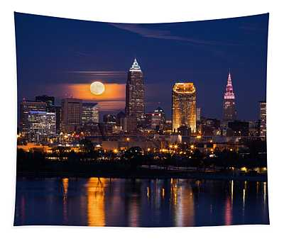 Full Moonrise Over Cleveland Tapestry