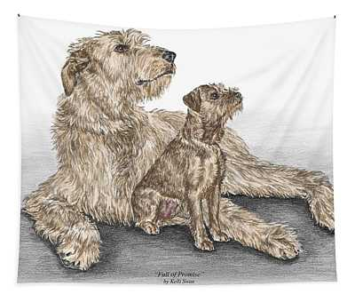 Full Of Promise - Irish Wolfhound Dog Print Color Tinted Tapestry