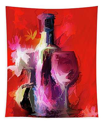 Fun Colorful Modern Wine Art   Tapestry