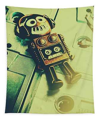 Funky Mixtape Robot Tapestry