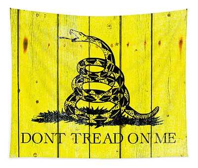 Gadsden Flag On Old Wood Planks Tapestry