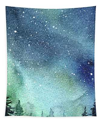 Galaxy Watercolor Aurora Painting Tapestry
