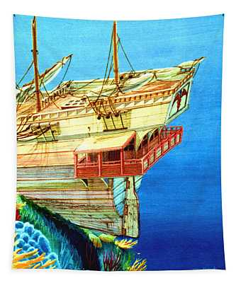 Galleon On The Reef 2 Filtered Tapestry