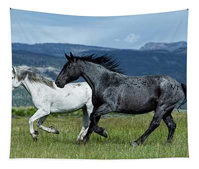 Galloping Through The Scenery In Wyoming Tapestry