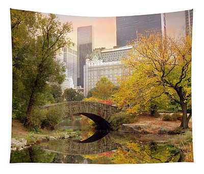 Tapestry featuring the photograph Gapstow Bridge Reflections by Jessica Jenney