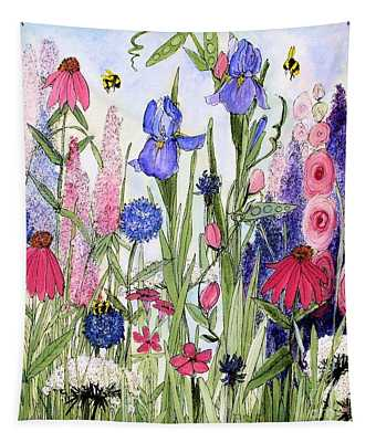 Garden Cottage Iris And Hollyhock Tapestry