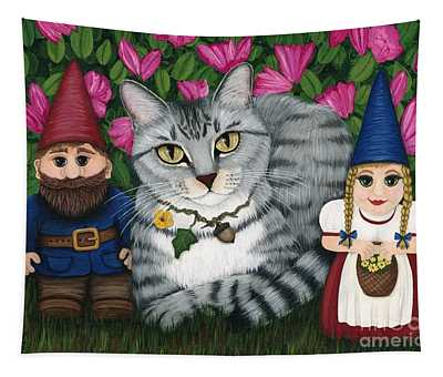 Garden Friends - Tabby Cat And Gnomes Tapestry