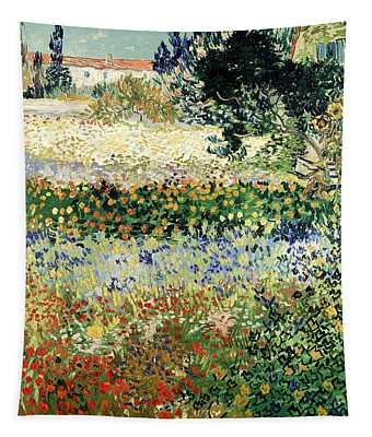 Tapestry featuring the painting Garden In Bloom by Van Gogh