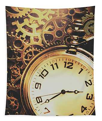 Gears Of Time Travel Tapestry