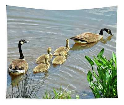 Geese And Goslings Tapestry