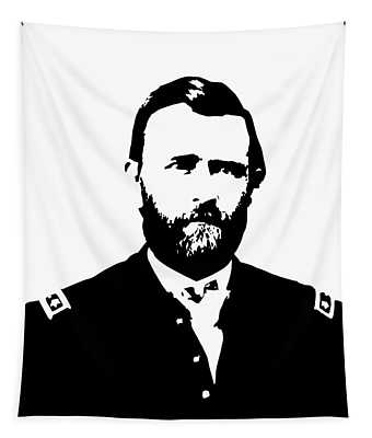 General Grant Black And White  Tapestry