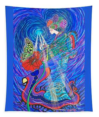 Grieving Gentle Spirit And Butterfly.           Chloe The Flying Lamb Productions  Tapestry