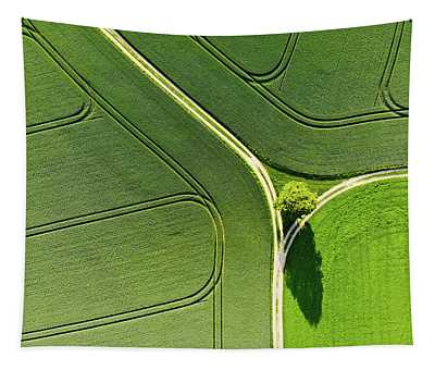 Tapestry featuring the photograph Geometric Landscape 05 Tree And Green Fields Aerial View by Matthias Hauser