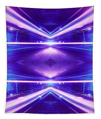 Geometric Street Night Light Pink Purple Neon Edition  Tapestry