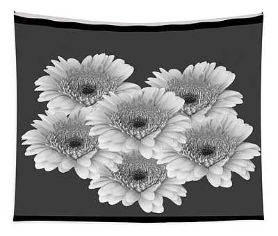 Gerberas Black And White Framed Tapestry