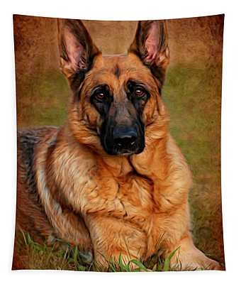 German Shepherd Dog Portrait  Tapestry