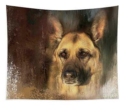 German Shepherd Portrait Color Tapestry
