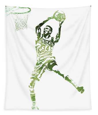 Giannis Antetokounmpo Milwaukee Bucks Water Color Pixel Art 1 Tapestry